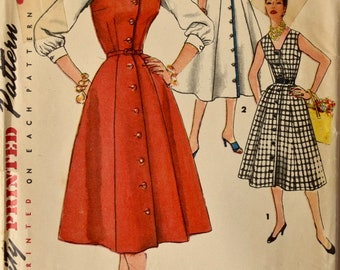 """Simplicity 1094 Sewing Pattern 1950s Dress Pattern V-Neck Sleeveless Button Front 7-Gore Skirt Jumper and Blouse  Bust 36"""""""