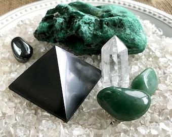 Shungite, Shungite Pyramid, EMF, Raw Malachite, Quartz Crystal, Natural Hematite, EMF Shielding, Ceramic Dish