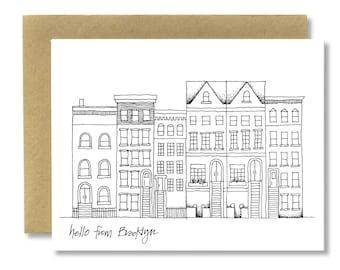 Brooklyn Brownstones (Horizontal) - A2 Card (Single or Set of 5)