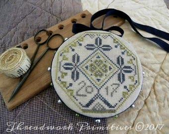 Primitive Cross Stitch Pattern - Quaker Clover Pinwheel