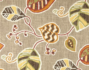 Curtains Leaves, Pair of Rod Pocket Panels, LaLa Cafe - Magnolia Home Fashions,  La La Leaf, Taupe Brown Orange Green, Choose size