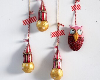 Circus Globes   Set of three pendants   Decoration   Circus   Gold   Red and White   Paper Mache