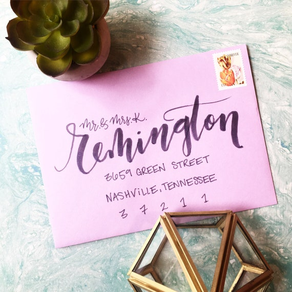 "Envelope Calligraphy for Wedding Invitations ""Brush Calligraphy"" Style"