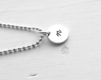 Small Initial Necklace, Sterling Silver Jewelry, All Letters Available, Letter n Necklace, Hand Stamped Jewelry, Charm Necklace, Monogram