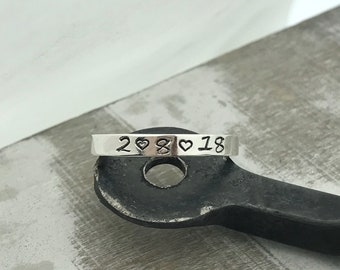 Personalized stacking rings - Sterling Silver Stamped Band - Mom - Longitude Latitude - Gift for her