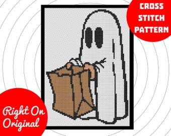 Trick Or Treat Ghost Halloween Cross Stitch Pattern