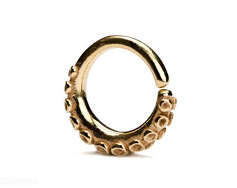 Octopus Tentacle Gold Septum Ring Nose Ring Body Jewelry Gold Plated and Solid Sterling Silver Boho Indian Style 14g 16g 18g - SE035