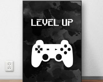 Video Game Wall Art, Gaming Room Decor, Video Game Print, Video Game Party, Instant Download, Video Game Poster, Gaming Decor, Level Up