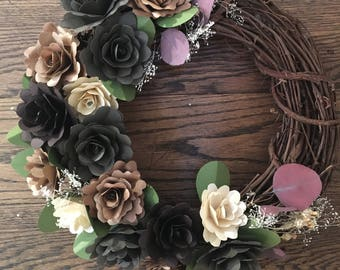 Night Fall Paper Flower Wreath With Dried Accent Flowers