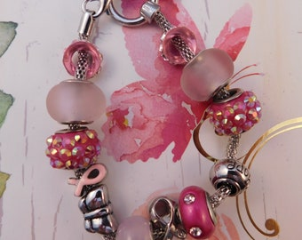 Pink Breast Cancer Awareness Charm Bracelet with Glass Beads and Toggle Clasp