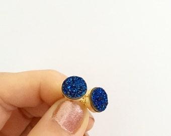 Sparkling Midnight Blue Natural Druzy Stud Earrings - druzy quartz, gemstone studs, post, bridesmaid gift, under 40, small, glitter, jewel