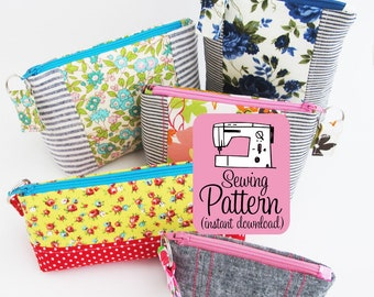 Intro to Improv Zip Pouches PDF Sewing Pattern | Intermediate sewing tutorial show how to sew zipper cosmetic toiletry makeup bags.