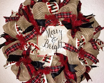 FREE SHIPPING!!! Christmas Wreath/Red Plaid Christmas Wreath/Winter Wreath/Winter Deco Mesh Wreath/Merry Christmas Wreath