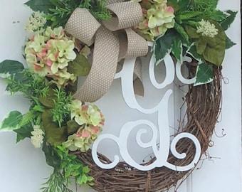 Everyday Wreath, Hydrangea Wreath, Front Door Wreath, Monogram Wreath, Grapevine wreath, Monogram Wreath For Front Door, Everyday Wreath