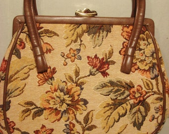 Vintage 1960s Brown Flowered Tapestry Handbag Purse