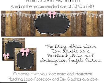 Etsy Cover Photo - Add your own Text, Instant Download, Ribbons and Bows, New Cover Photo For Etsy, Made to Match Graphics, DIY