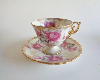 Royal Sealy China  Pink Floral Tea  Cup and Saucer