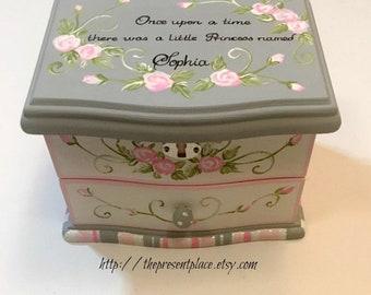 personalized musical jewelry box,grey,pink,roses,girls jewelry box,musical ballerina jewelry box,personalized gift,musical jewelry box