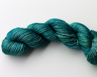 DK Silk and Merino Yarn, Hand Dyed in Lagoon Colorway, Green-blue Superwash Merino and Silk DK weight yarn