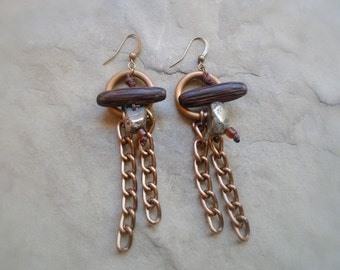 Exotic wood earrings with pyrite and brass chains