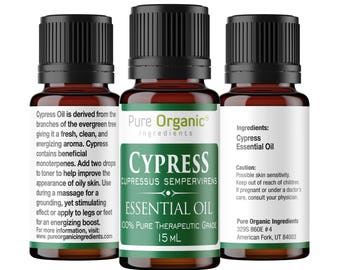 Cypress Pure Essential Oil 15 ml by Pure Organic Ingredients, Refreshing & Energizing Aroma, Promotes Healthy Skin.
