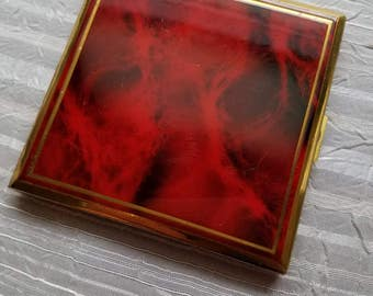 Vintage Gold Tone and Red Marbled Mirrored Compact Loose Make Up Compartment 1950s