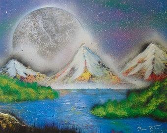 Spray Paint Art - Blue Moon