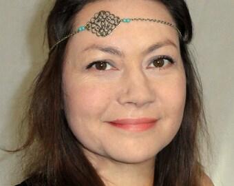Türkis Kopfschmuck, Boho Kopf Schmuck, Boho chic Türkis Kopfstück, Gypsy Kopf Kette, Kette Kopfbedeckung, Bronze Türkis Stirnband