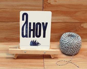 Ahoy Letterpress Postcard