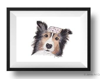 Dog Art Print - Sheltie and Pop-Tarts, Childrens Art, Kids Wall Art, Frameable Art, Animal Wall Art, Dog Art, Dog Portrait, Pet Art
