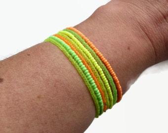 Bohemian bracelet, neon bracelet, seed bead bracelet, summer jewelry, stretch bracelet, boho chic, minimalist bracelet, layering bracelet