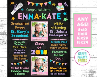 Preschool Graduation Sign, Graduation Poster, Graduation Keepsake, Preschool, Kindergarten Grad, Girl, Pastel, Pink, Printable Digital File