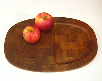 Dansk Denmark JHQ Teak Cheese Tray /Oblong End Grain Cutting Board - 1960s Mid Century Danish Modern