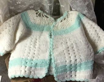 Sweet Little Hand Knit Baby Sweater 1940's 1950's Baby Girl Baby Boy White Green Newborn to Three Months Layette Handcrafted Cute Sweet