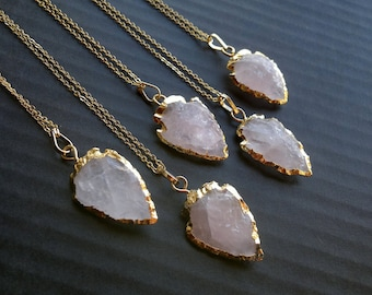 Rose Quartz Arrowhead Necklace Arrowhead Jewelry Gold Dipped Rose Quartz Jewelry Tribal Necklace Tribal Jewelry Mineral Necklace Stone