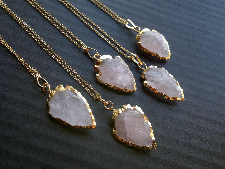 Rose Quartz Arrowhead Necklace Arrowhead Jewelry Gold Dipped