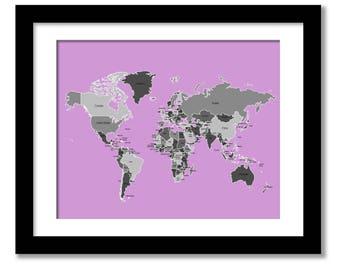 Birds world map poster atlas map world countries continents custom world map poster atlas map world countries continents artwork custom world map art wedding map poster wedding map art print gumiabroncs Images