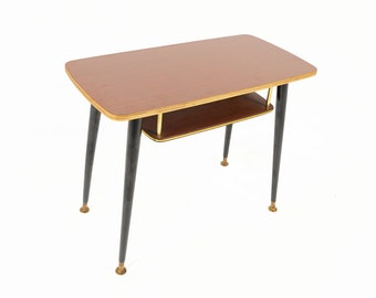 German Mid Century Modern Small Laminate Two Tiered Side Table