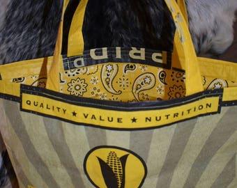 Recycled Feed Sack Corn with yellow paisley bandana liner Tote/Bag/purse/Shopping bag