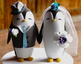 PENGUIN Wedding Cake Topper  - With vest and lapel for groom - Warranty Protection Included