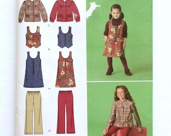 Simplicity 2484, Girls' Jumper, Vest, Jacket and Cropped Pants Pattern, Childs' Pattern, Size 3, 4, 5, 6, Uncut Pattern