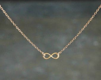 Tiny Infinity Necklace // Extra Small Floating Infinity Pendant on a 14k Gold Filled Chain / Love or Friendship Necklace • Gift for Her