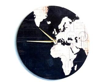 Map Wall Clock, Home and Living, Decor & Housewares, Living Room Decor