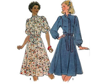 """70's Women's Dress Sewing Pattern with Long or Short Sleeves, Band Collar, Cuffs, Size 14 Bust 36"""" Vintage 1970's Uncut Simplicity 8335"""