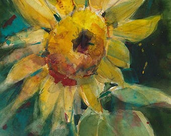 Sunflower Archival Print or Giclee -  Watercolor