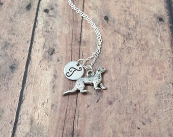 Ferret initial necklace - ferret jewelry, pet jewelry, polecat jewelry, silver ferret pendant, polecat necklace, ferret gift