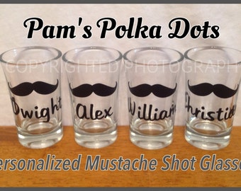 Personalized MUSTACHE SHOT GLASS with Name or Word great wedding groomsman bachelor party birthday anytime gift