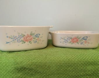 beautiful two piece set of vintage corningware in Symphony pattern-no lids