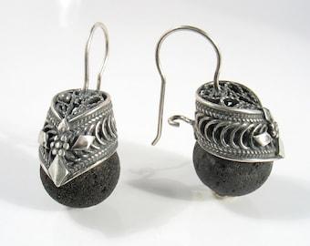 Royal Earrings - sterling silver filigree and black lava
