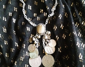 Memnosyne II Necklace, Tribal Fusion, Belly Dance, Assemblage, Crystal, Kuchi Coin, Bullet Casing, unique, unusual